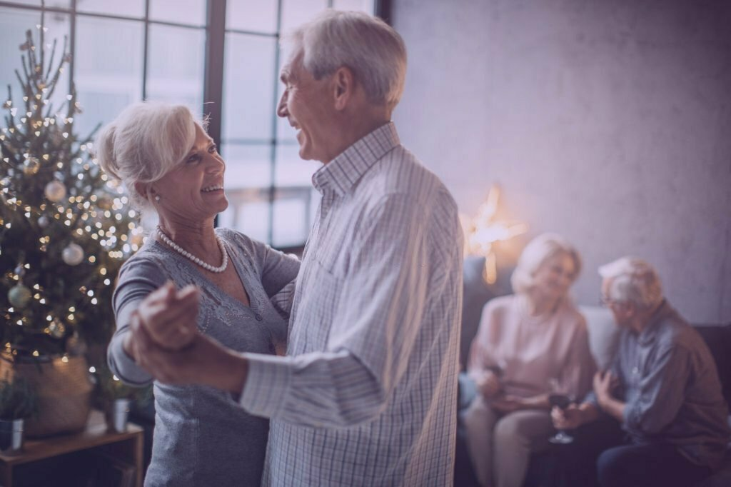 Senior couple start dancing